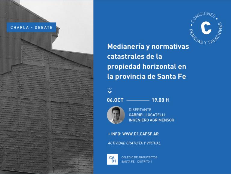 Charla – debate: Medianería y normativas catastrales de la propiedad horizontal en la provincia de Santa Fe